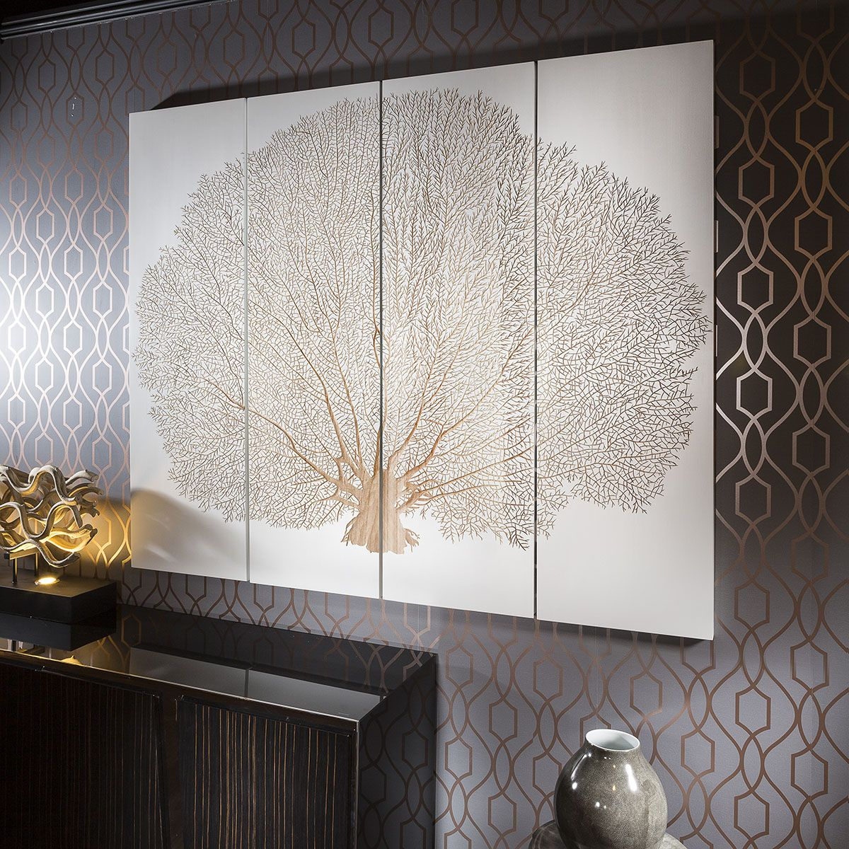 Large Wall Art Artwork Hand Carved Into Wood White Oak Tree 1 5x1 8mtr White Oak Tree Large Wall Art White Oak