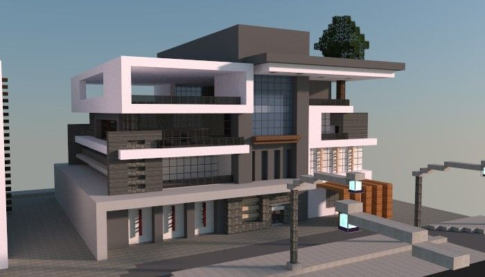 Image gallery modern minecraft house schematic for Modern house schematic