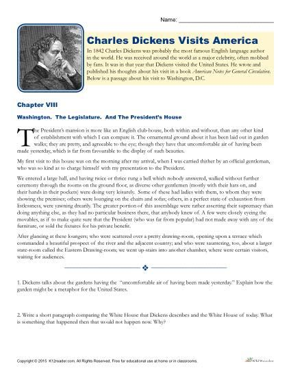 charles dickens s america reading worksheet reading printable reading comprehension worksheet charles dickens s america students pratice their reading comprehension and