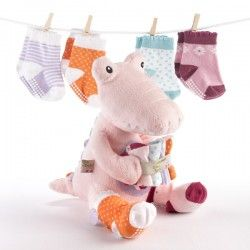 Croc in Socks Plush Toy and Baby Socks Gift Set (Pink)