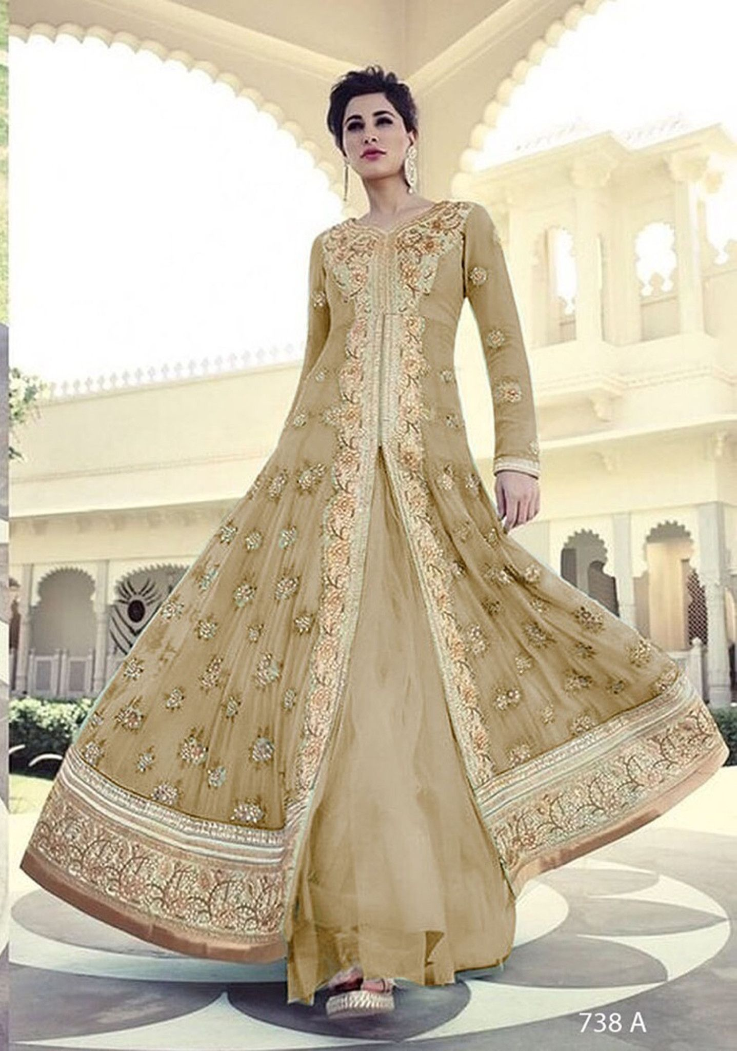2e05bfd5e09 7318-A Gold Colour Nargis Fakhri Wedding Wear Dress