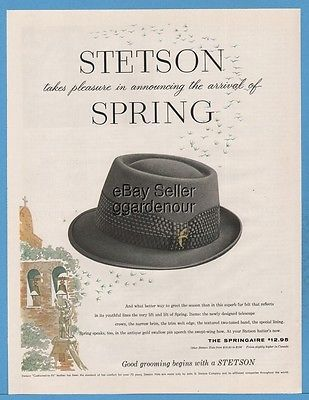 63a4cdbfc2c81d 1959 Stetson Springaire Hat 1950's Men's Spring Fashion Fedora Style Print  Ad