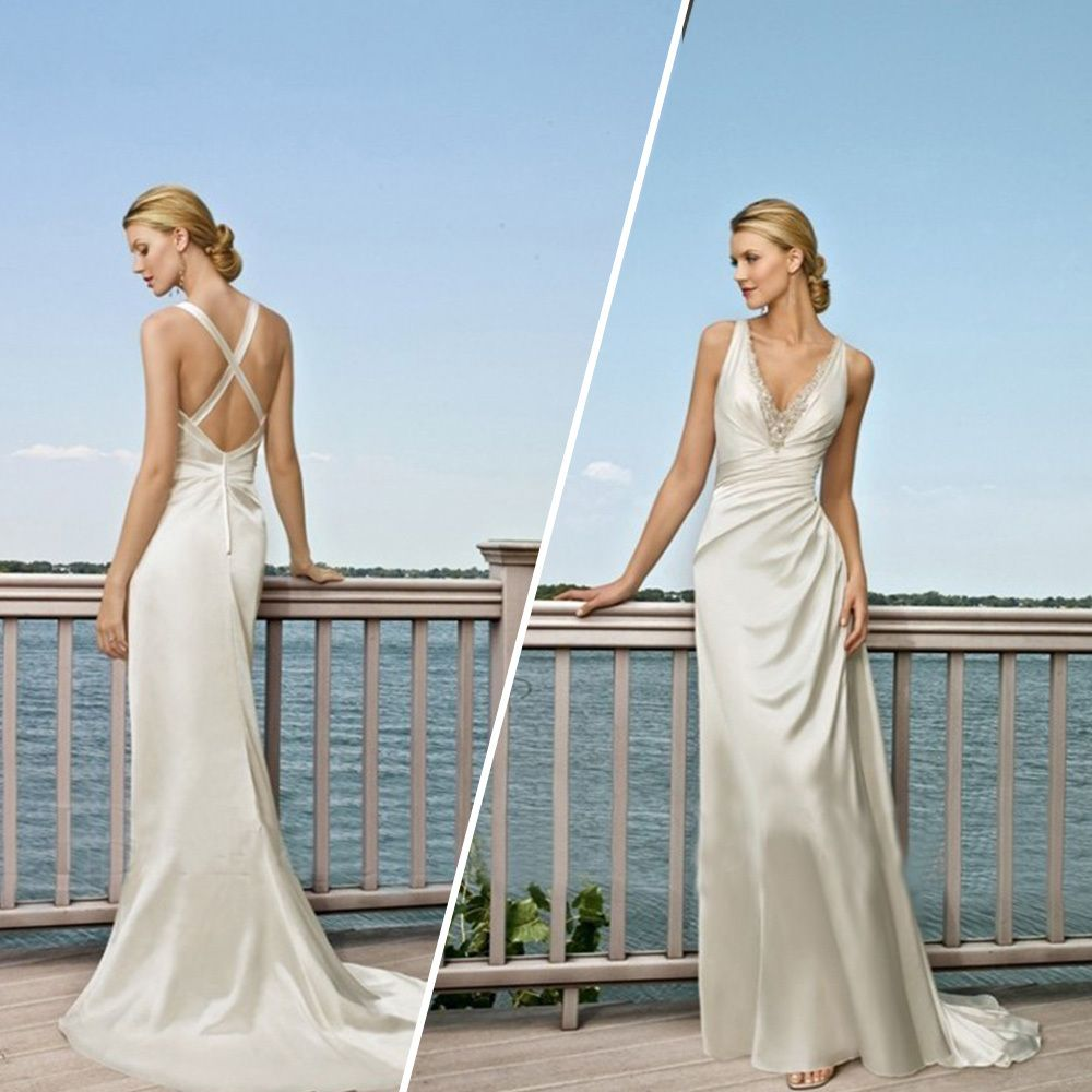 Wedding dress v neck low back plain google search wedding