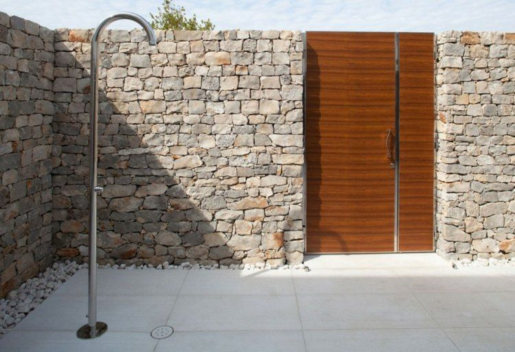 gartenzaun sichtschutz mit naturstein ohne metall garten pinterest gartenz une. Black Bedroom Furniture Sets. Home Design Ideas