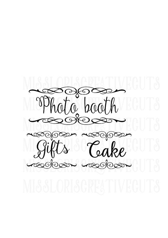 Cake Gifts Photo Booth signs SVG Cut file Cricut wedding svg, photo ...