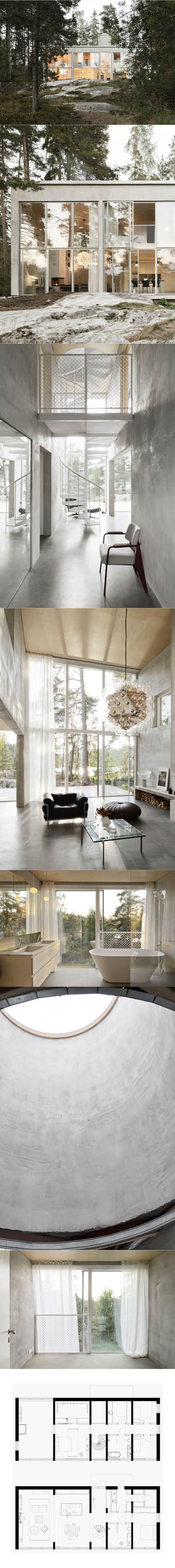 2015 Arrhov Frick Six Walls House Saltsjo Boo Near Stockholm Sweden Concrete Glass White Minimalism House Minimalism Floor Plans