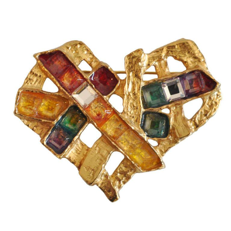 Christian Lacroix Heart Pin | From a unique collection of vintage brooches at https://www.1stdibs.com/jewelry/brooches/brooches/