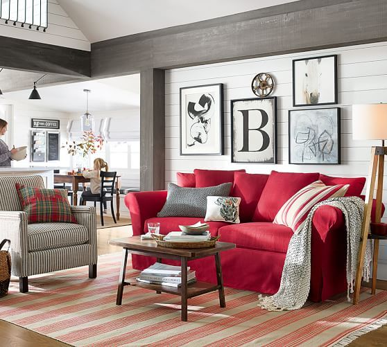 Pin By Margaret Yu On Red White Blue In 2020 Living Room Red Red Sofa Living Red Couch Living Room