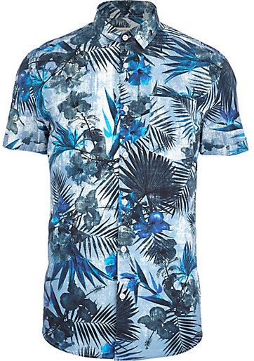 d368221ae7c3c River Island MensBlue tropical flower print short sleeve shirt - click to  check out the details and price  )