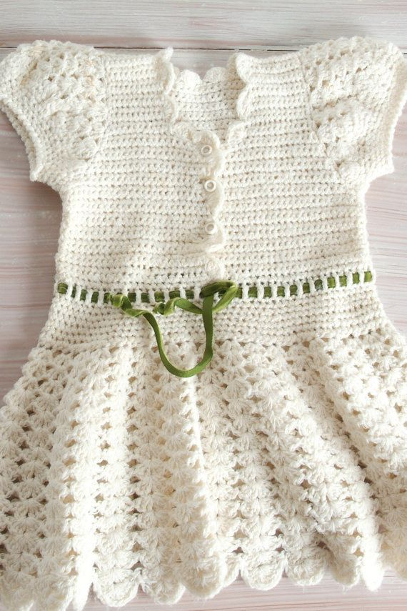 Little Crochet Dress in Antique White for Girl or Toddler, Baby Boho ...