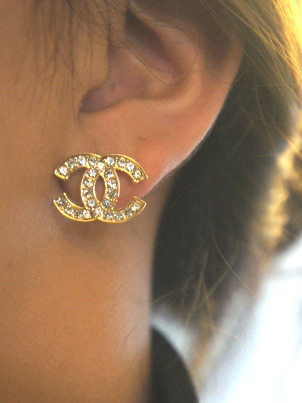 e128a0c92 studded chanel inspired earrings. $20.50, via Etsy. | Fashion ...