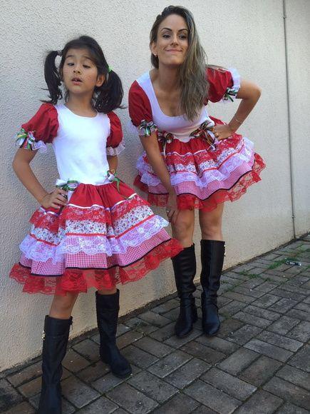Caipira Tal Mae Tal Filha Corpo Malha Vestido Festa Junina