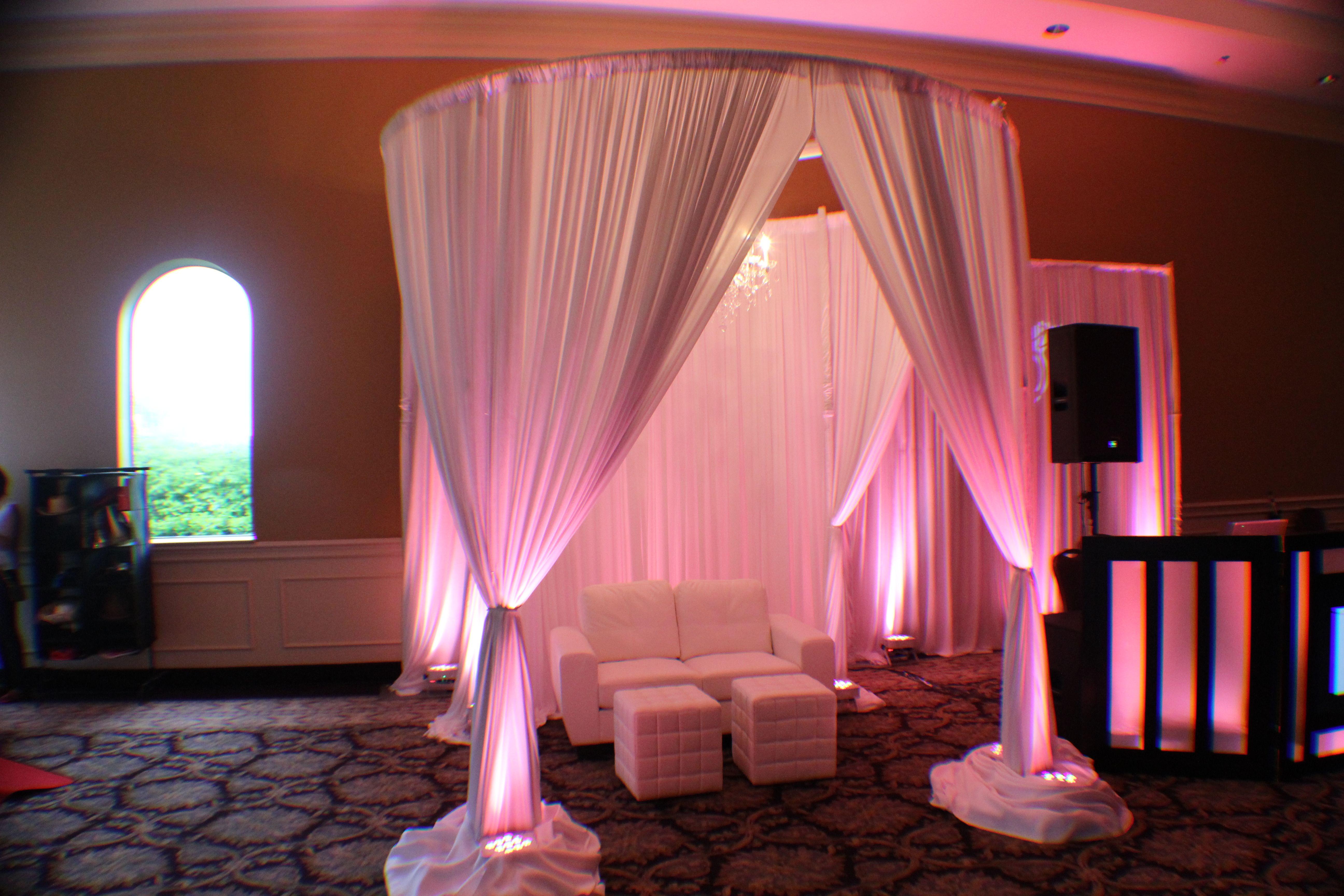 Our bridal show setup of our elegant round draping chuppah with our bridal show setup of our elegant round draping chuppah with chandelier lounge furniture aloadofball Choice Image