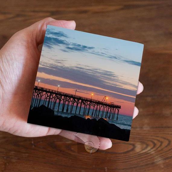 Coastal photograph, beach photo, 4x4, art panel, sunrise photo, coastal image, beach image, sunrise image, Carolina Beach, North Carolina