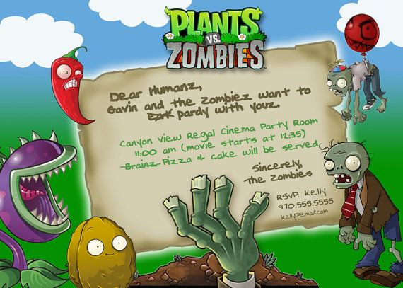 Plants Vs Zombies Party Invitation Digital Download
