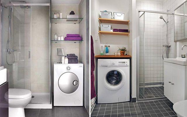 Distribuci n de lavadora y secadora en el ba o para casas peque as hogar terrazas patios - Lavadora secadora pequena ...