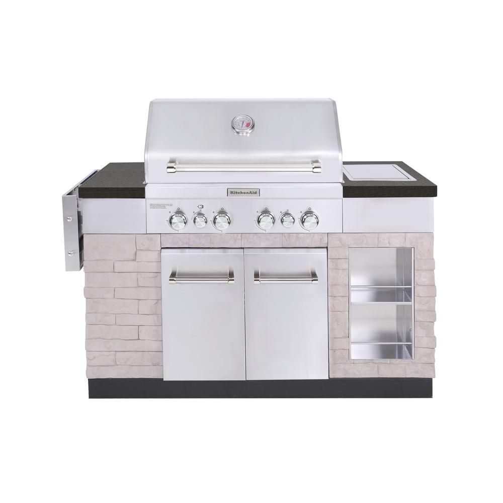 KitchenAid 4-Burner Propane Gas Island Grill in Stainless Steel ...