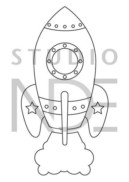 Digital Stamp - Space Rocket Spaceship - Printable Line Art for Card ...