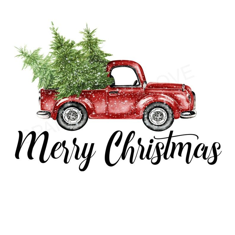 Merry Christmas Tree Truck Holiday Iron On Ready To Press Transfer
