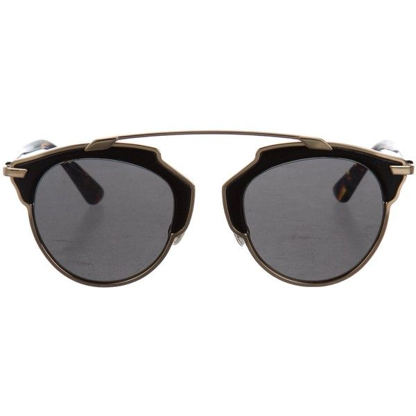 c27d87b9cb08 Pre-owned Christian Dior So Real Sunglasses ($345) ❤ liked on Polyvore  featuring accessories, eyewear, sunglasses, gold, logo sunglasses,  christian dior, ...