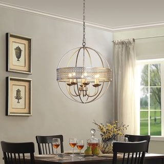Shop For Victoria Orb 6 Light Distressed Silver Chandelier Get Free Shipping At Overstock