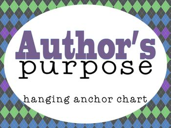 These anchor explain the different reasons Authors write. Would be great for reading comprehension or a writing lesson. Features:- P. Persuade- I. Inform- E. EntertainLook for a complete series of Reading Strategies/Comprehension posters at my TPT store.