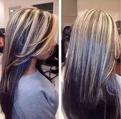 Brown Black Underneath Chunky Platinum Blonde Highlights Hair Color Hair Highlights Hair Styles Beautiful Hair