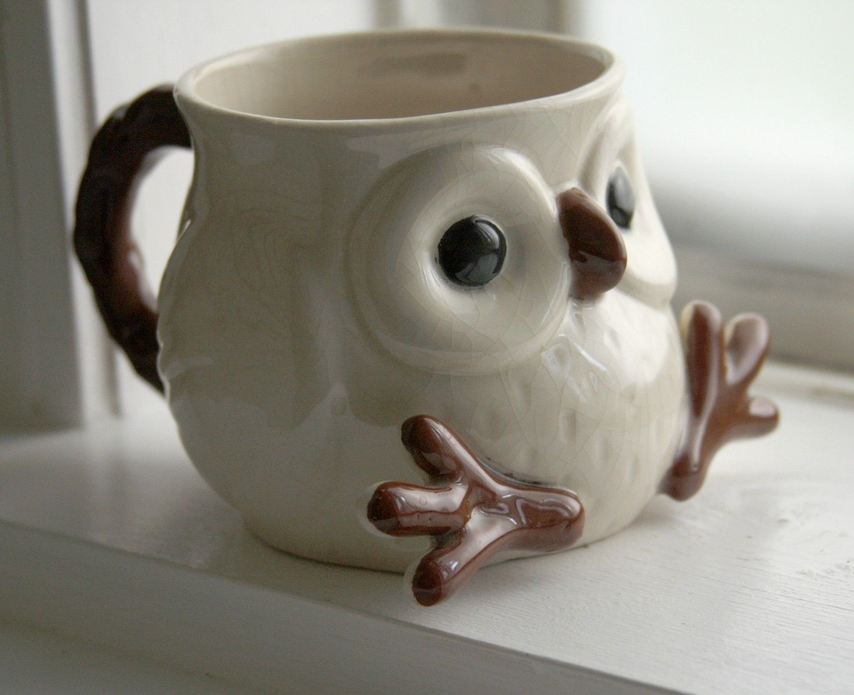 Snow Owl Mug via Etsy shop - lydiasvintage.  Cute idea for art club and using hand building techniques.