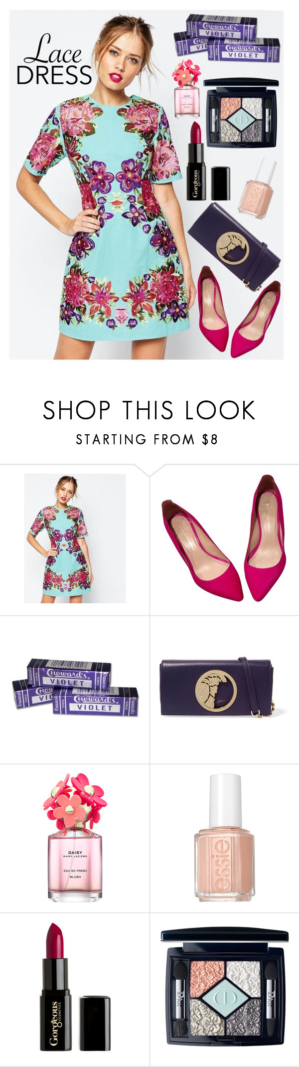 """""""Embrace the Lace 2"""" by rachael-aislynn ❤ liked on Polyvore featuring ASOS, Loeffler Randall, Versace, Marc Jacobs, Essie, Gorgeous Cosmetics, Christian Dior, Spring, floral and lace"""