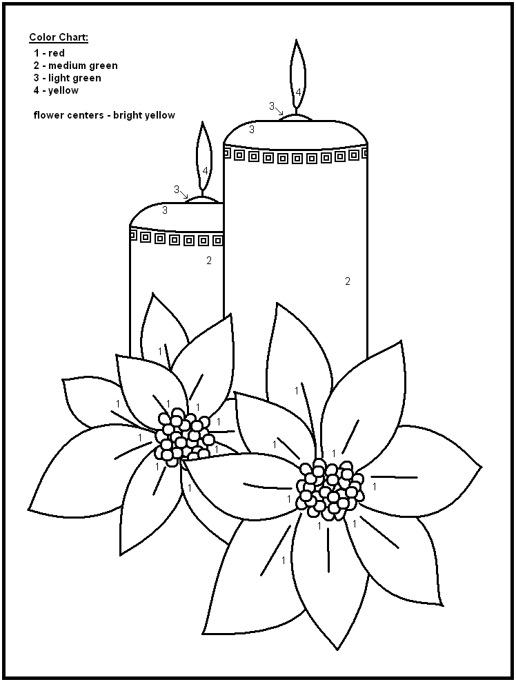 Christmas Color By Number Printables Bing Images Winter - free coloring pages of candles