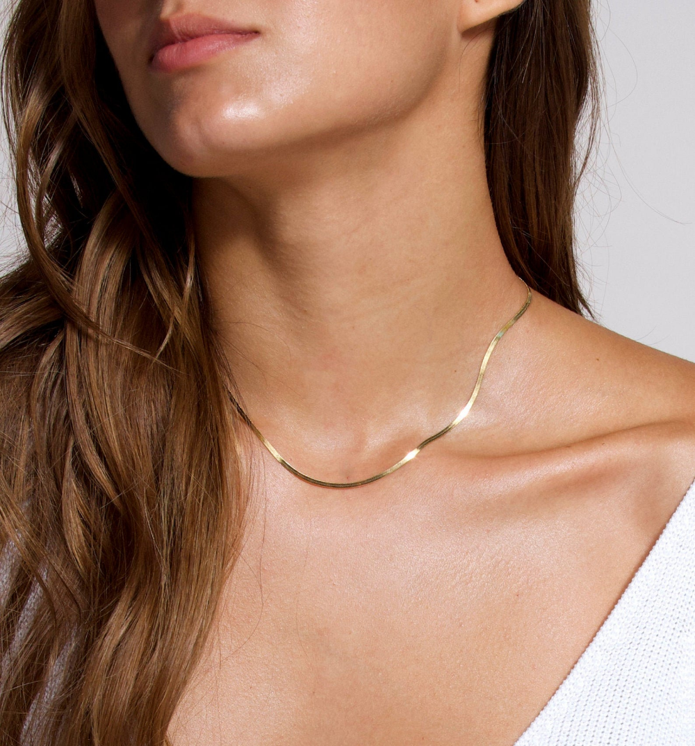Gold Snake Chain Thick Chain Choker Thick Gold Necklace Flat Chain Necklace Gold Herringbone Chain Gold Chain Thick Necklace In Gold Gold Snake Chain Chain Necklace Outfit Thick Chain Necklace