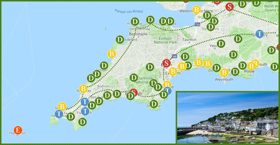 Kaart Van Rondreis Door Devon En Cornwall In Zuidwest Engeland