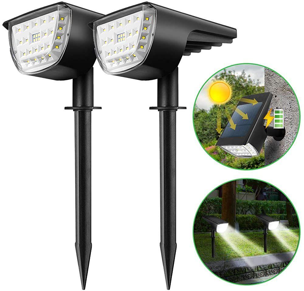 Kingso 2 Stuck Solarleuchten Fur Aussen 12 Leds 3 Modi Solarlampe Garten Ip65 Wasserdicht Auto Ein Aus Garten Solarleuchte In 2020 Solarleuchten Solarlampe Solar Licht