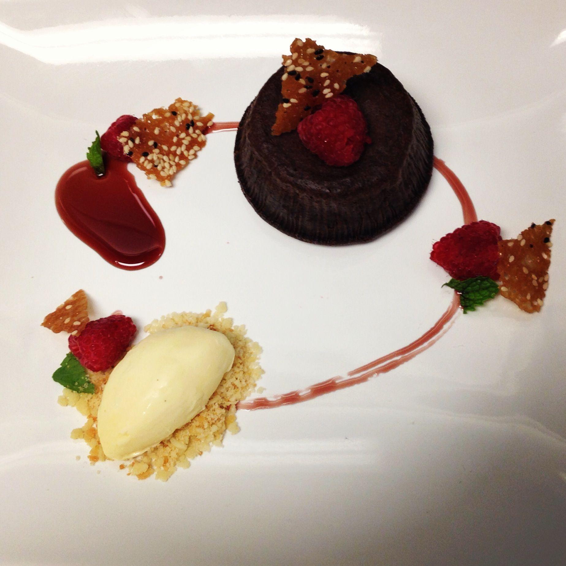 Molten Lava Cake, Raspberries, Wine Reduction, Sesame ...