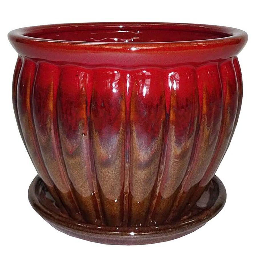 Superior Garden Treasures 6.22 In X 5.71 In Brown Red Ceramic Planter