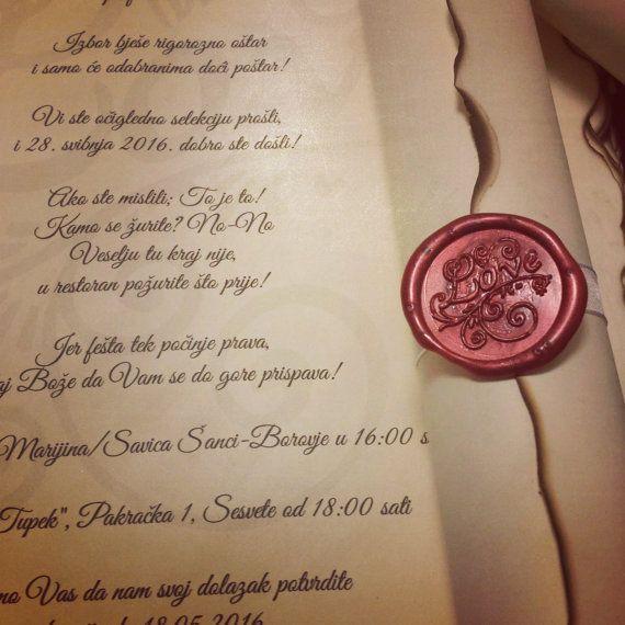 Sample Vintage Wedding Scroll Invitation Handmade With Wax Seal