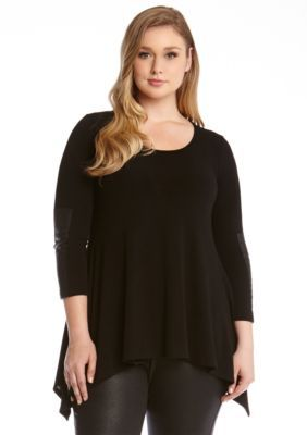 Karen Kane  Plus Size Faux Leather Handkerchef Top