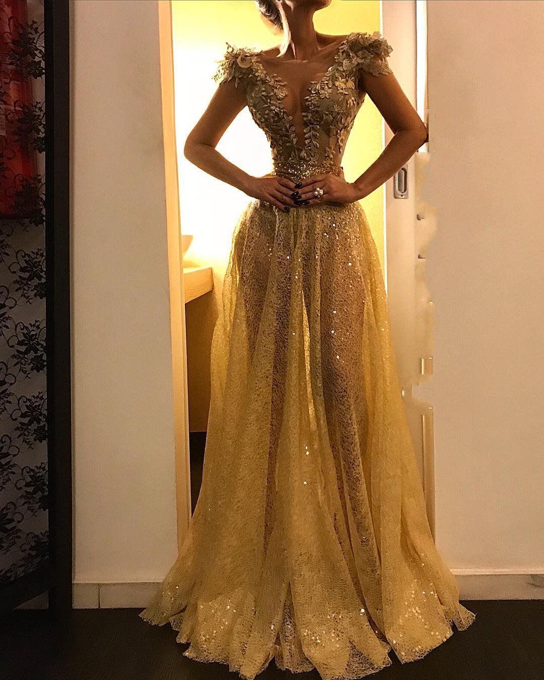 Abendkleid Gold  Spitze Abendkleider Lang
