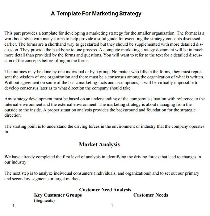 A Template For Marketing Stretegy marketing Plan Template - marketing analysis template