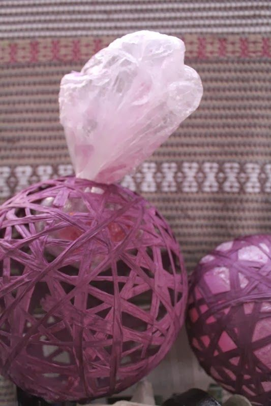 Make these with fiber or paper strips, watered craft glue and a balloon.