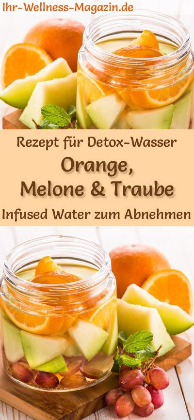 Orangen-Melonen-Trauben-Wasser - Rezept für Infused Water - Detox-Wasser