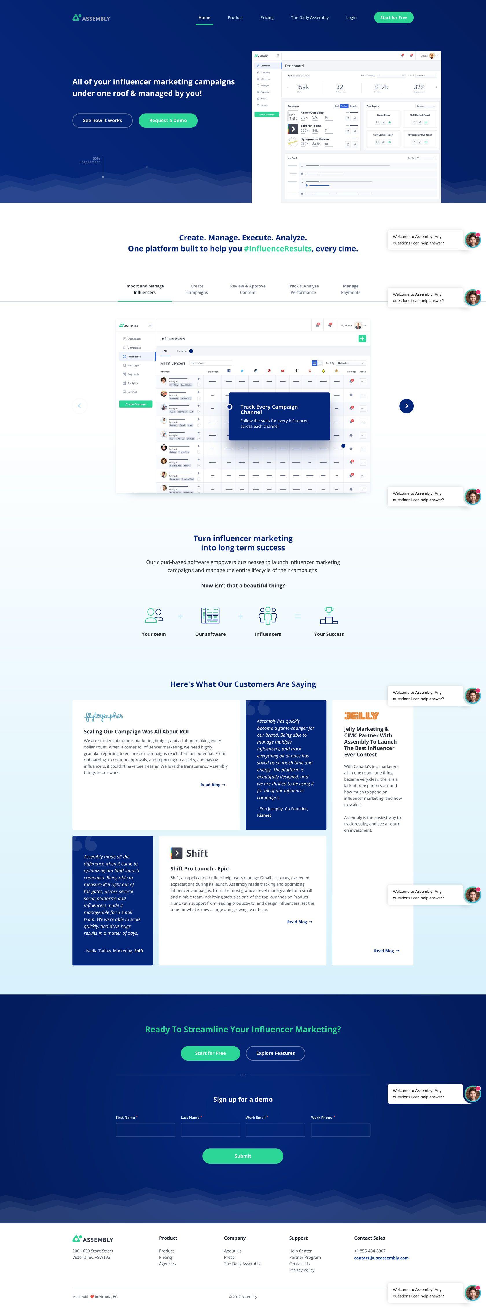 Https Useassembly Com Influencer Marketing Best Landing Page Design Page Design