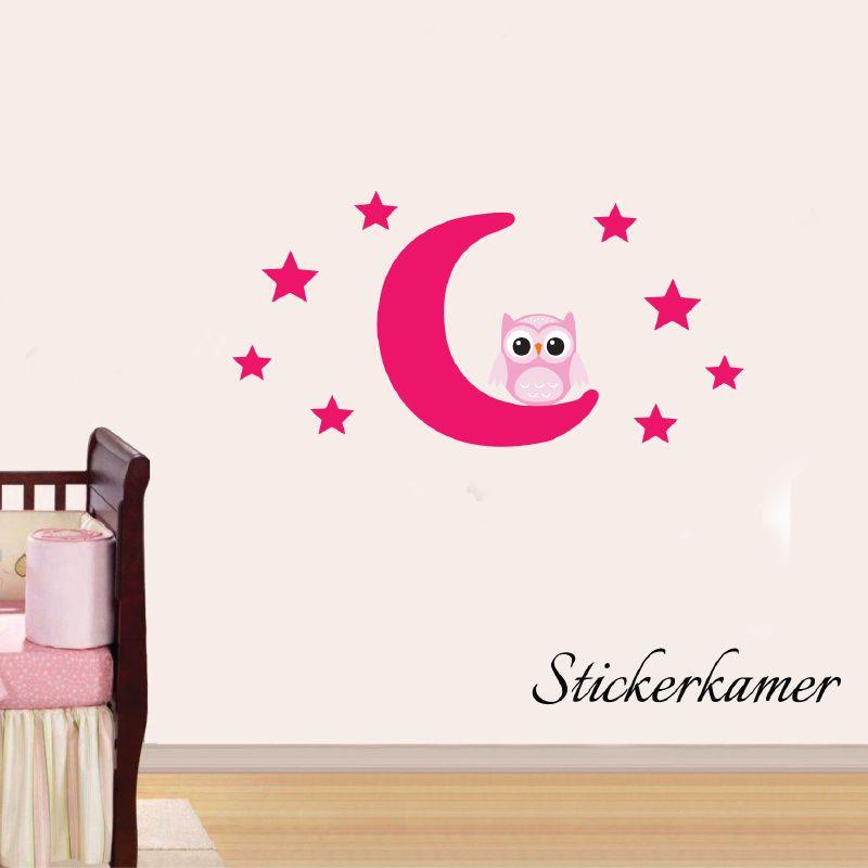 Roze Muurdecoratie Kinderkamer.Muursticker Uiltje Op Maan En Sterren Roze Mix And Match
