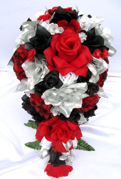 21pc Bridal Bouquet Wedding Flower RED BLACK SILVER