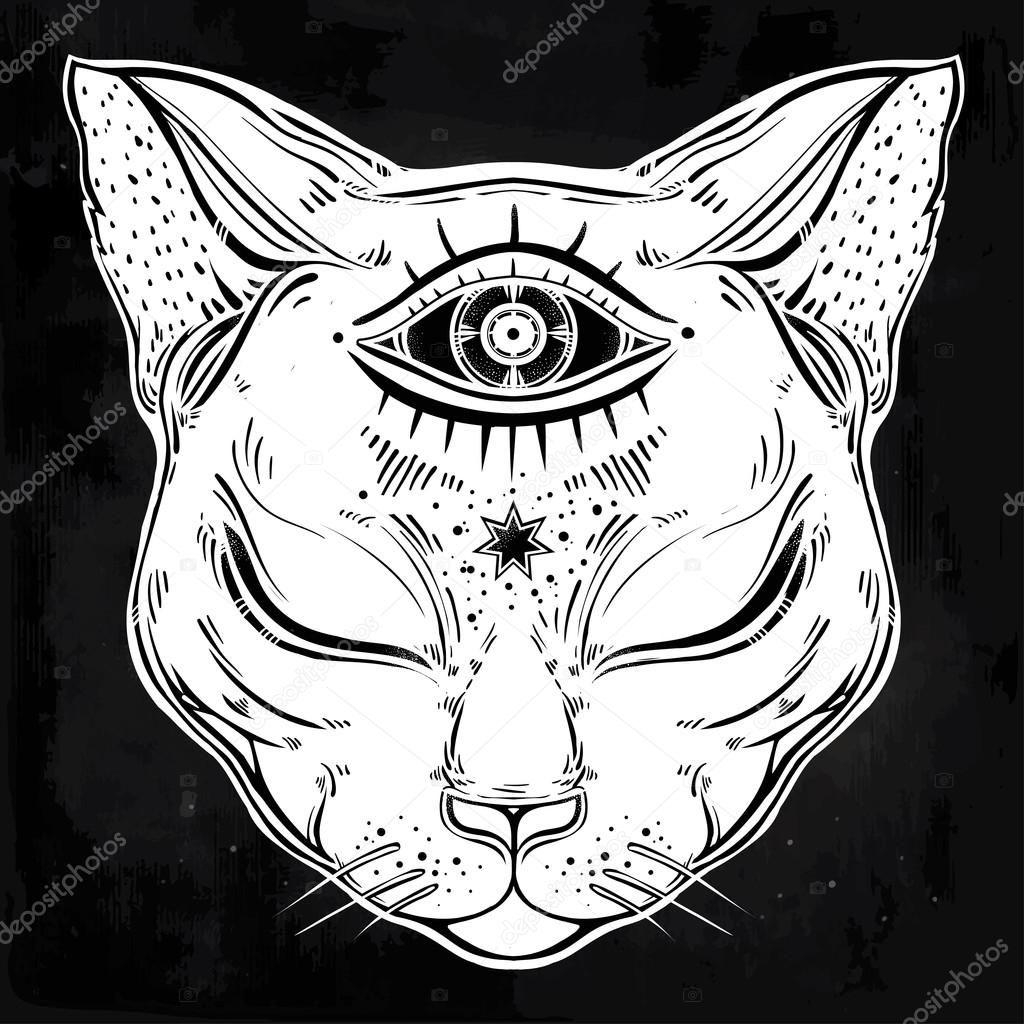 Descargar Retrato De Cabeza De Gato Negro Con La Luna Y Tres Ojos