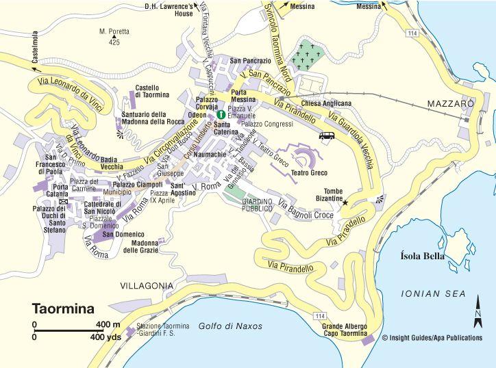 Map Of Taormina Think Sicily Sicily Pinterest Taormina