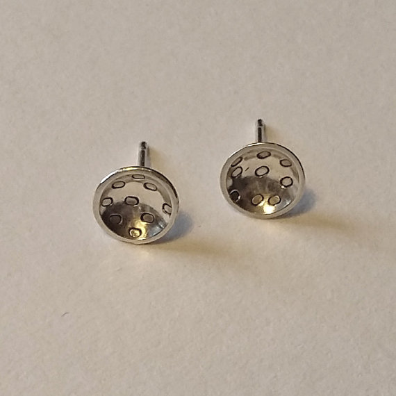 Circle Dome Stud Earrings Handmade Sterling Silver Patterned Studs Women S Modern Jewellery Simpl