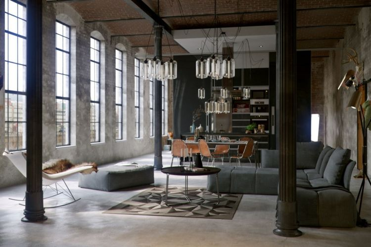 Wohnzimmer Industrial ~ Betonboden wohnzimmer industrial style kronleuchter wohnen