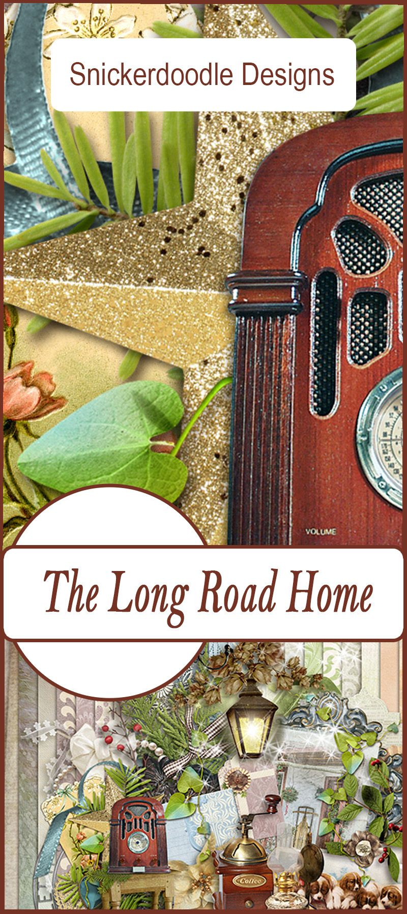 The Long Road Home, a collaboration between SnickerdoodleDesigns and ADB Designs, was designed with everything you need to create beautiful scrapbook pages and document your special memories of home. Full of anticipation, we dream of welcoming lights, a warm cup of coffee, soft music playing on the radio, and puppies jumping at our feet.