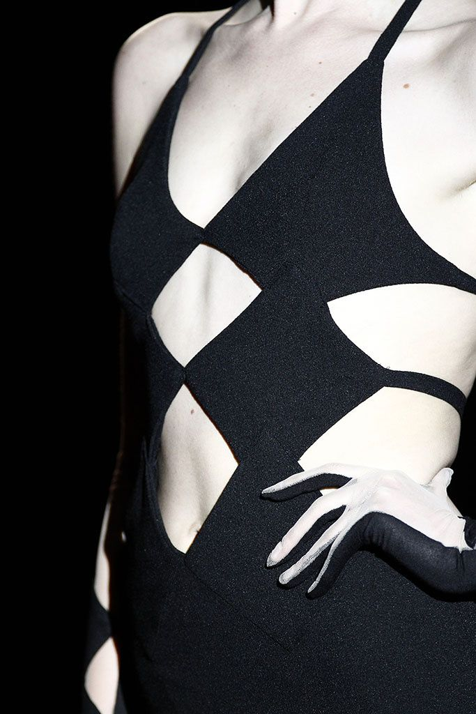 Black dress with graphic cut outs, geometric fashion details // Andres Sarda F/W 2015